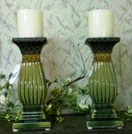 Ceramic Pedestal Pillar Holders (candles not incl)