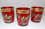 3 pc. Holly Glass Votive Cup Holder